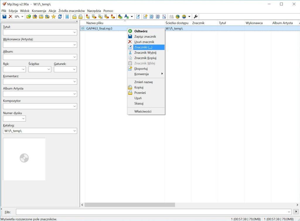 Jak dodać tagi ID3 dopliku MP3 zpodcastem? – ekran 3