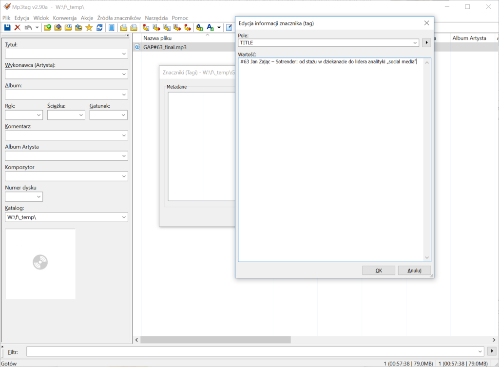 Jak dodać tagi ID3 dopliku MP3 zpodcastem? – ekran 6